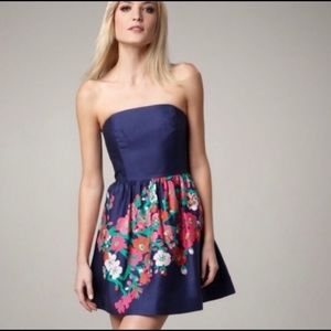 Lilly Pulitzer Navy Lottie strapless floral dress